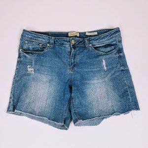 7 For All Mankind Distressed Denim Shorts Size 16